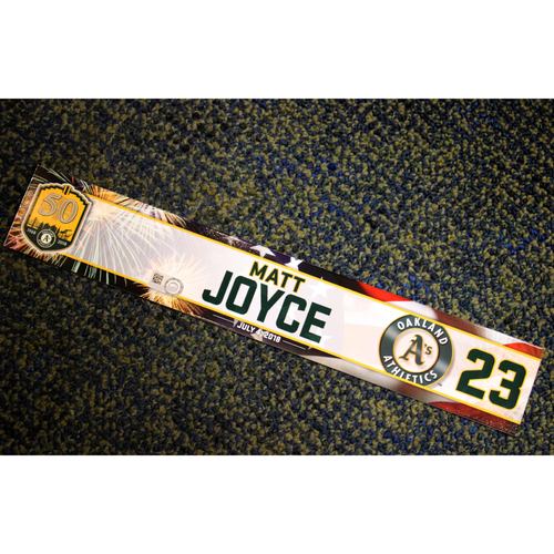 Photo of Oakland Athletics Matt Joyce Team-Issued 4th of July 2018 Locker Nameplate