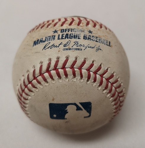 Photo of Authenticated Game Used Baseball - Yangervis Solarte Single against Justin Grimm (April 18, 2018 vs KC). Bottom 8.