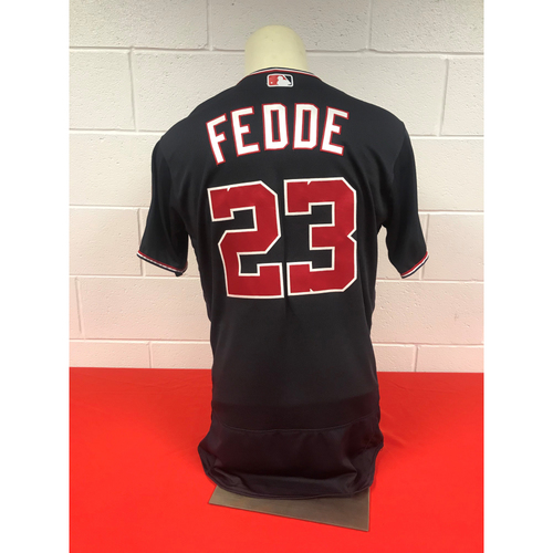 Photo of Erick Fedde Game-Used Washington Nationals 2018 Navy Jersey with Script Nationals and All-Star Game Patch