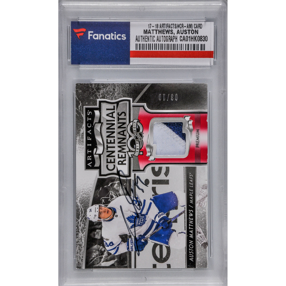 Auston Matthews Toronto Maple Leafs Autographed 2017-18 Upper Deck Artifacts Centennial Remnants #CR-AM Card Containing a Piece of Game-Used Jersey - LE#3 of 10