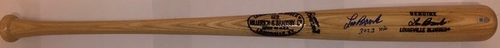 "Photo of Lou Brock Autographed ""3,023 Hits"" Game Model Louisville Slugger Bat"
