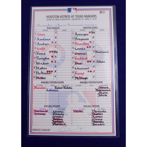 Photo of Game-Used Line-Up Card - 4/21/19 - HOU @ TEX