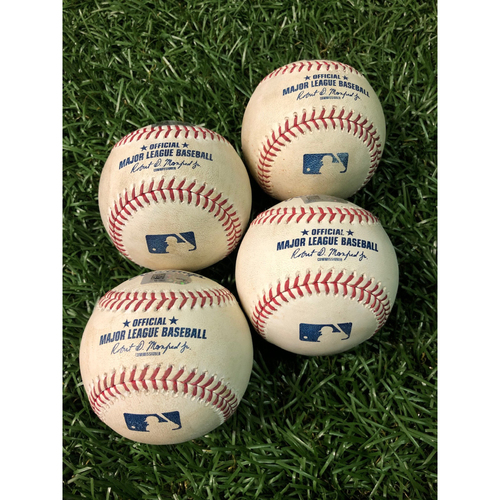 Photo of Game Used Foul Ball Package: Aaron Judge, Cody Bellinger, Mike Trout and Vladimir Guerrero Jr.
