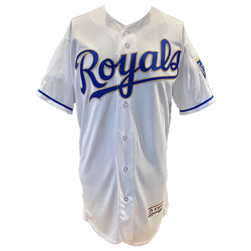 Photo of Kansas City Royals Team-Issued Majestic Jersey - White w/ Gold- Size 46