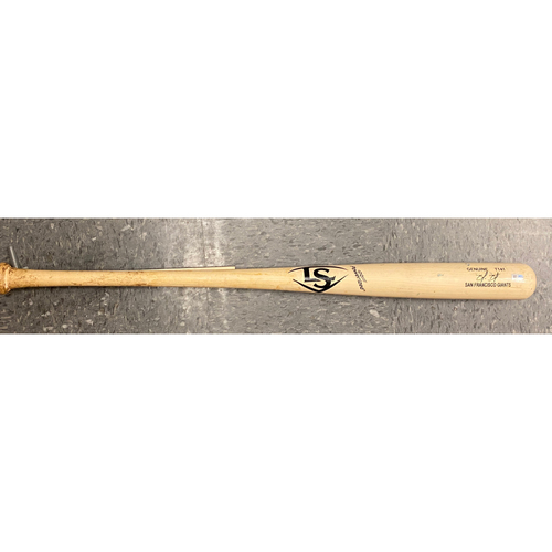 Photo of 2020 Black Friday Sale - #9 Brandon Belt 2019 Game Used Broken Louisville Slugger Game Model Bat used on 9/19 vs. NYM - B-8: Luis Avilan to Brandon Belt - Ground Out to 2nd (Robinson Cano)