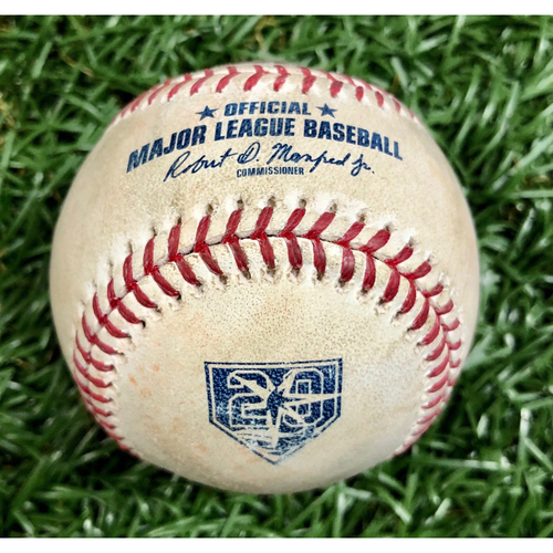 Photo of Game Used 20th Anniversary Baseball - August 23, 2018 v KC