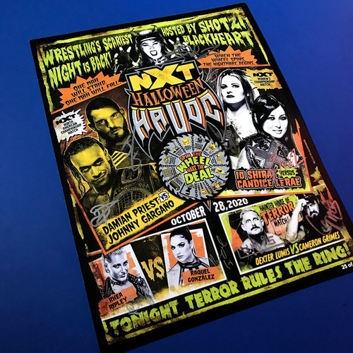 Photo of *AS IS AUCTION* SIGNED and NUMBERED NXT Halloween Havoc Fight Card (Random Number)