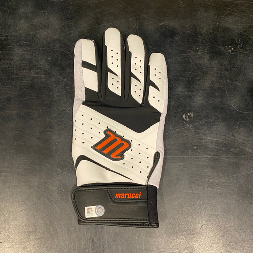 Photo of 2021 Team Issued Black, White & Orange Marucci Batting Glove (Single) - #28 Buster Posey