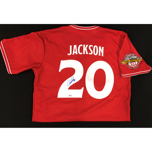 Photo of Danny Jackson - AUTOGRAPHED Game Used Jersey: Reds Hall of Fame Legends Game