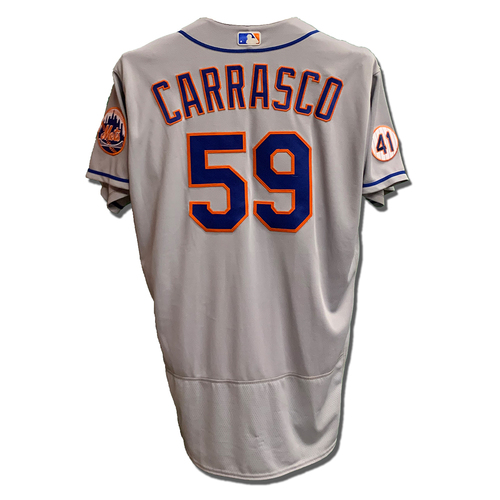 Photo of Carlos Carrasco #59 - Team Issued Road Grey Jersey with Seaver Patch - 2021 Season