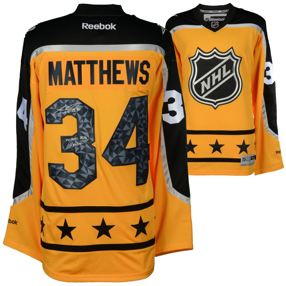 Auston Matthews Toronto Maple Leafs Autographed Yellow 2017 All-Star Game Reebok Premier Jersey with 1st NHL ASG 1/29/17 Inscription