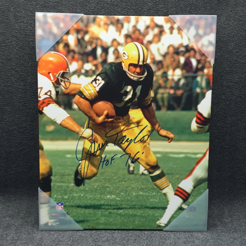 HOF - PACKERS JIM TAYLOR SIGNED 16X20 CANVAS PRINT