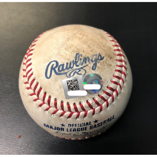 Ronald Acuna Jr. -- Game-Ready Baseball -- Ball Used to Warm Up Acuna in Outfield Prior to First Inning of Game -- MLB Debut Game -- Braves vs. Reds on April 25, 2018