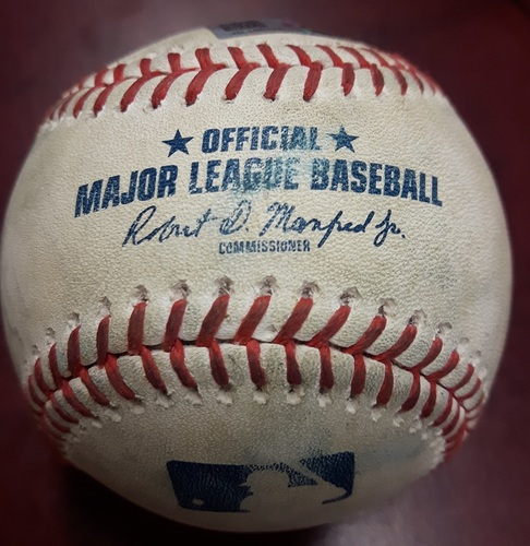 Photo of Authenticated Game Used Baseball - Double by Ian Kinsler against John Axford and 2 pitches to Mike Trout. Top 7. May 24, 2018.