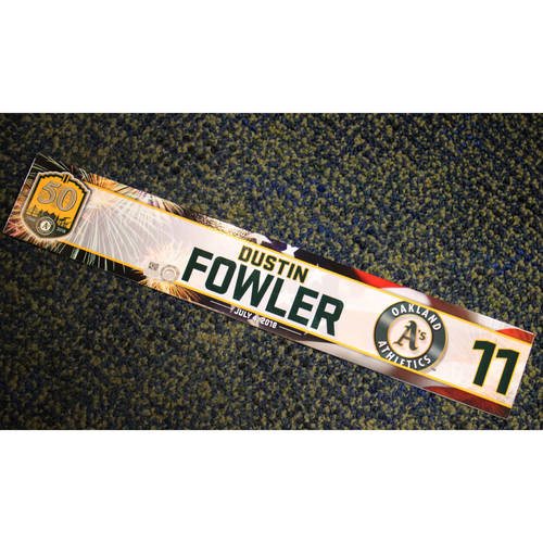 Photo of Oakland Athletics Dustin Fowler Team-Issued 4th of July 2018 Locker Nameplate