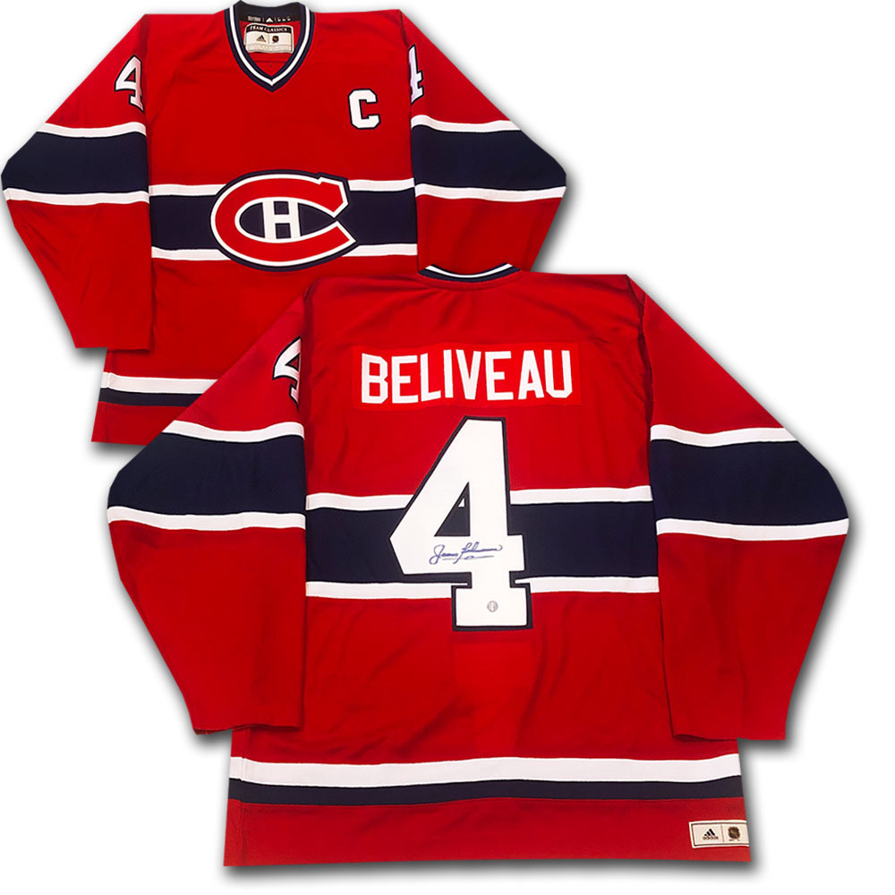 Jean Beliveau Autographed Montreal Canadiens adidas Team Classics Authentic Vintage Jersey