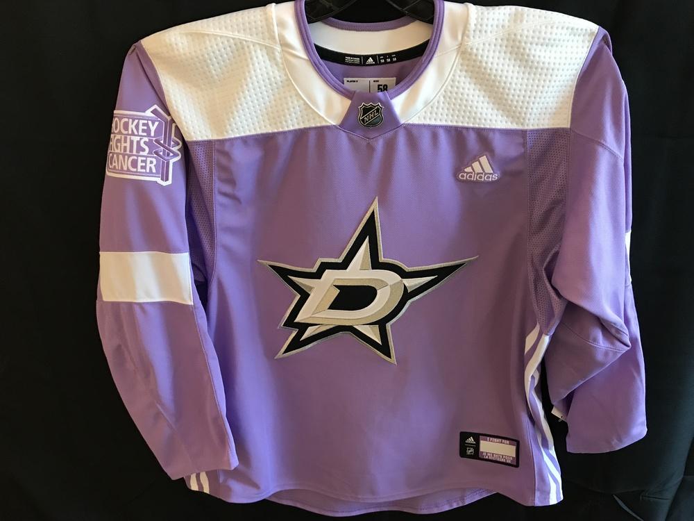 the latest d521a cc964 6 Dallas Stars, Antoine Roussel, warm-up worn Hockey Fights Cancer jersey.  Closing Womens Dallas Stars Reebok Purple ...