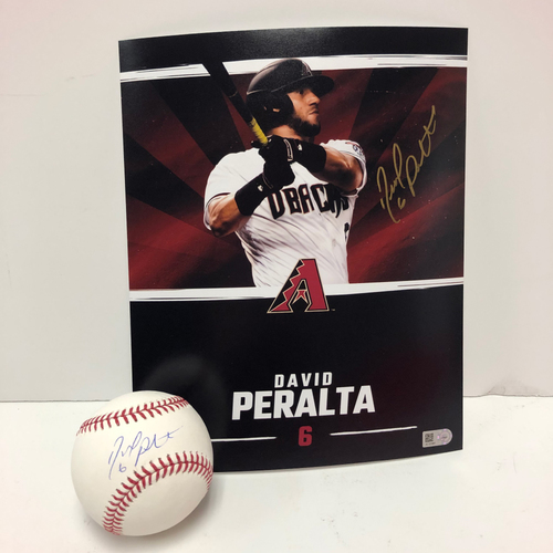 David Peralta Autographed Baseball and 8x10 Photo