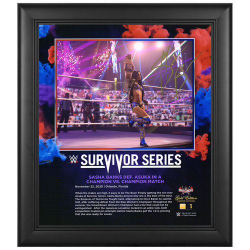 Photo of Sasha Banks SIGNED Survivor Series 2020 WrestleMania Gold Edition Plaque (#1 of 1)