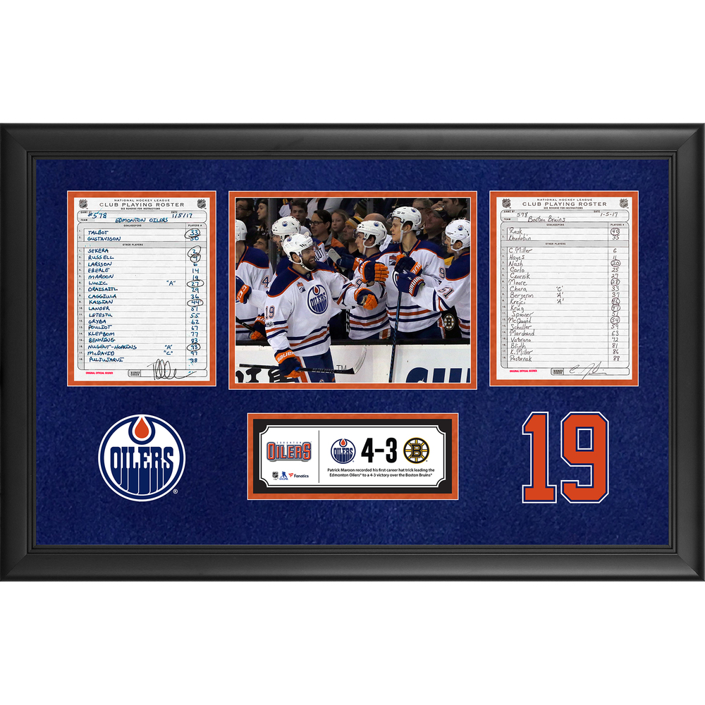 Edmonton Oilers Framed Original Line-Up Cards From January 5, 2017 vs. Boston Bruins - Patrick Maroon's First Career Hat Trick