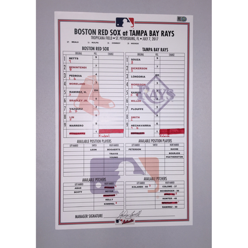 Photo of Red Sox at Rays July 7, 2017 Game-Used Lineup Card - Red Sox  win 8 to 3
