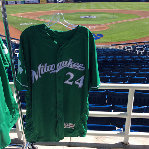 Photo of Jesus Aguilar 2018 Team-Issued St. Patrick's Day Jersey