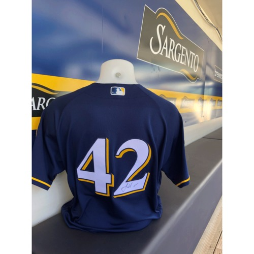 Photo of Josh Hader Game Used, Autographed Jackie Robinson Day Jersey; 1 IP, 3 K's