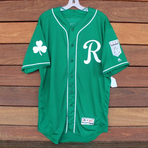 Photo of Game-Used Saint Patrick's Day Jersey: Jorge Bonifacio (KC @ SF - 3/17/19) (Size 46)