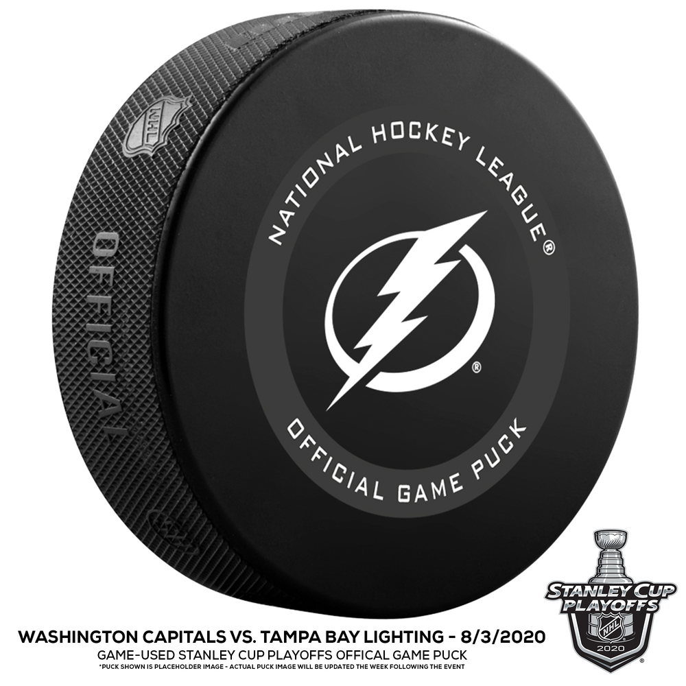 Tampa Bay Lightning vs. Washington Capitals Game-Used Puck from 2020 Stanley Cup Playoffs Round Robin Game on August 3, 2020