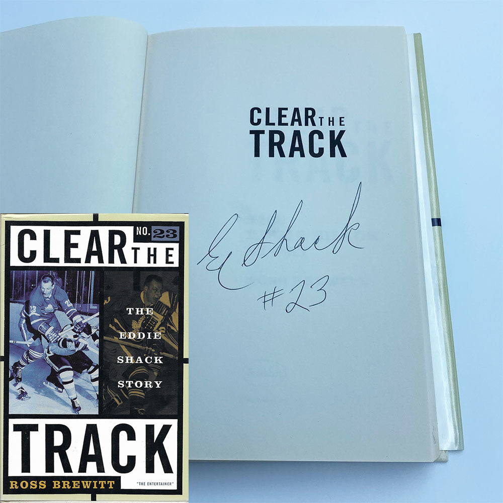 Eddie Shack Autographed Hardcover Book - Clear the Track