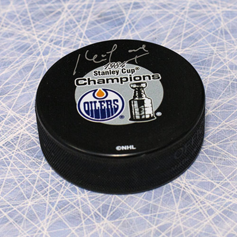 Kevin Lowe Edmonton Oilers Autographed 1984 Stanley Cup Puck