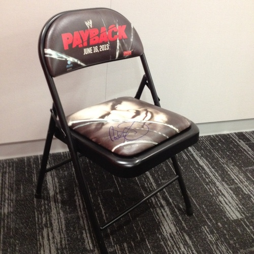 WWE Payback 2013 Event Chair SIGNED by Randy Orton