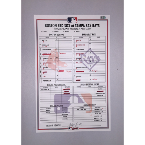Photo of Red Sox at Rays July 8, 2017 Game-Used Lineup Card - Rays win 1 to 0
