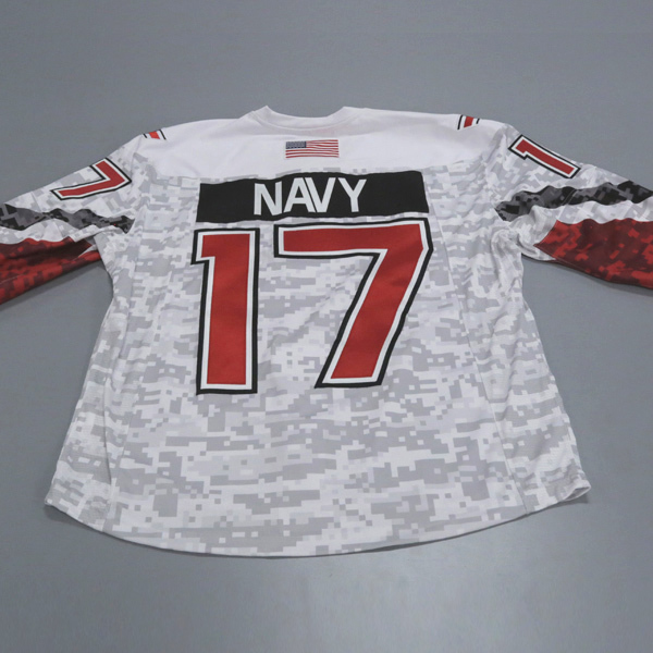 "Photo of Ohio State Ice Hockey Military Appreciation Jersey #17 ""Navy"" / Size 54"