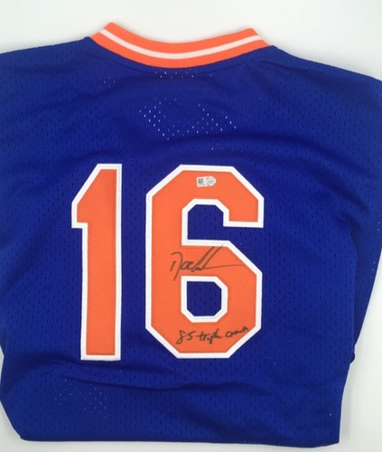 """Photo of Doc Gooden """"85 Triple Crown"""" Autographed Mets Jersey"""