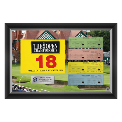 6 of 50 L/E David Duval, The 130th Open 1,2,3 & Final Round Scorecard Reproductions and Souvenir Pin Flag Framed