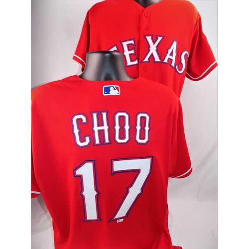 Photo of Shin-Soo Choo Game-Used Jersey - Worn June 29, 2018 vs. Chicago White Sox (Went 1-4, Extended On Base Streak To 41 Games) - Size 46