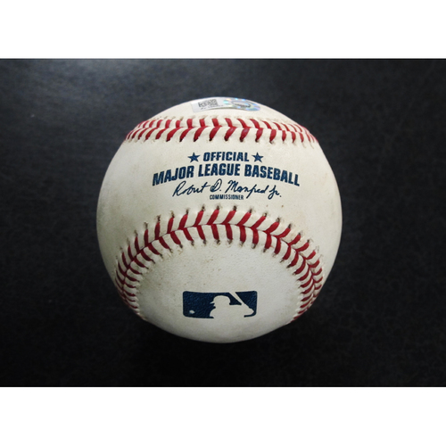 Photo of Game-Used Baseball Pitcher: Felix Hernandez, Batter: Matt Olson, Stephen Piscotty, Chad Pinder  (Strikeout, flyout, foul)  9-26-2018
