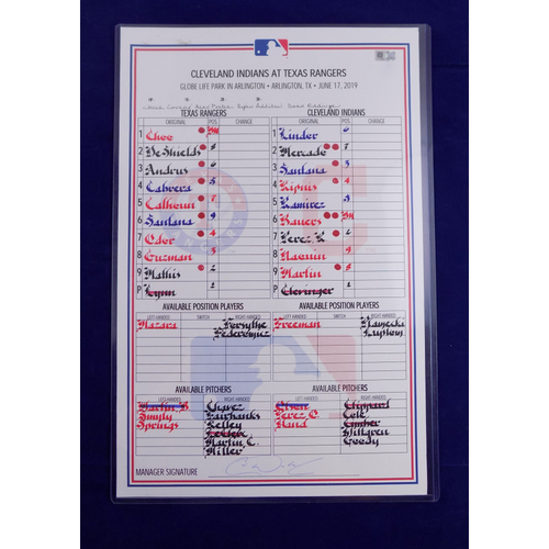 Photo of Game-Used Line-Up Card - 6/17/19 CLE @ TEX