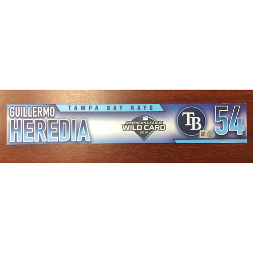 Photo of Game Used A.L. Wild Card Locker Tag: Guillermo Heredia - First Career Post Season Game