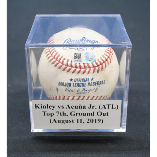 Photo of Game-Used Baseball: Tyler Kinley vs Ronald Acuña Jr. (ATL), Top 7th, Ground Out - August 11, 2019