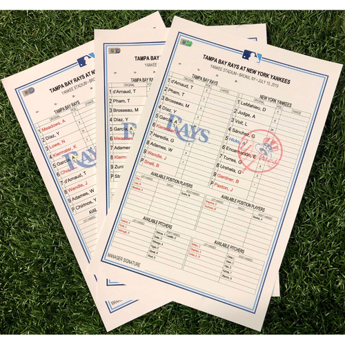 Photo of Replica Lineup Card Package: Travis d'Arnaud Makes MLB History (see item description for detail) - July 15-17, 2019 at NYY
