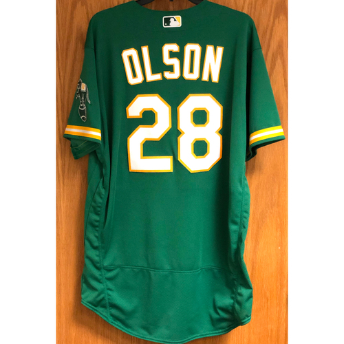 Photo of Game-Used Jersey: Matt Olson HR (10 - Career #100) - 9/8/20 vs HOU