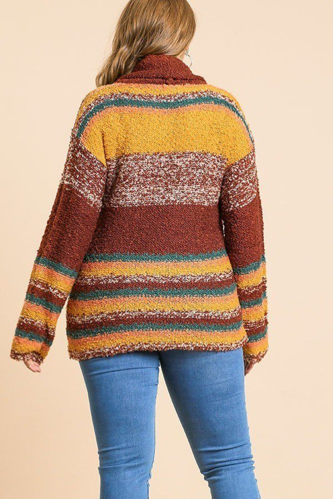 Photo of Serenity Multicolor Striped Fuzzy Knit Long Sleeve Pullover