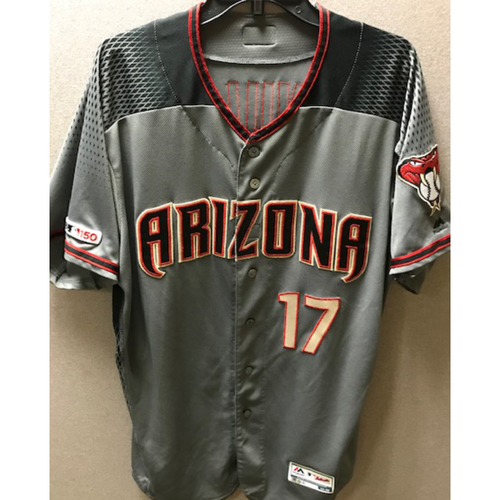 Photo of 2019 Torey Lovullo Game-Used Road Gray Jersey: 8/26/19 vs. Giants (D-backs Won 6-4)
