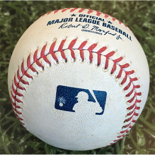 Photo of Game-Used Baseball CHC@MIL 09/12/20 - Freddy Peralta - Kyle Schwarber (Walk) & Javier Baez (Single)