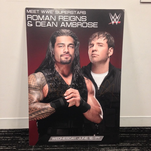 dean ambrose roman reigns signed foam poster wwe auction