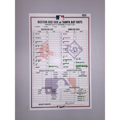 Photo of Red Sox at Rays July 9, 2017 Game-Used Lineup Card - Rays win 5 to 3