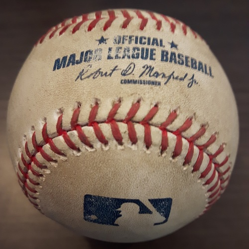 Photo of Authenticated Game Used Baseball - June 3, 2017: Starlin Castro Double against Joe Biagini (Top 7)