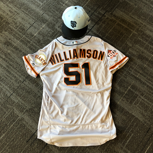 Photo of San Francisco Giants - Game Used Father's Day Blue Ribbon Jersey + Cap - #51 Mac Williamson (size 46 - cap 7 3/8)